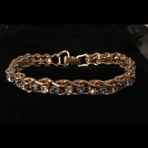 Gold Blue/Clear CZ Gem Tennis Bracelet NWOT